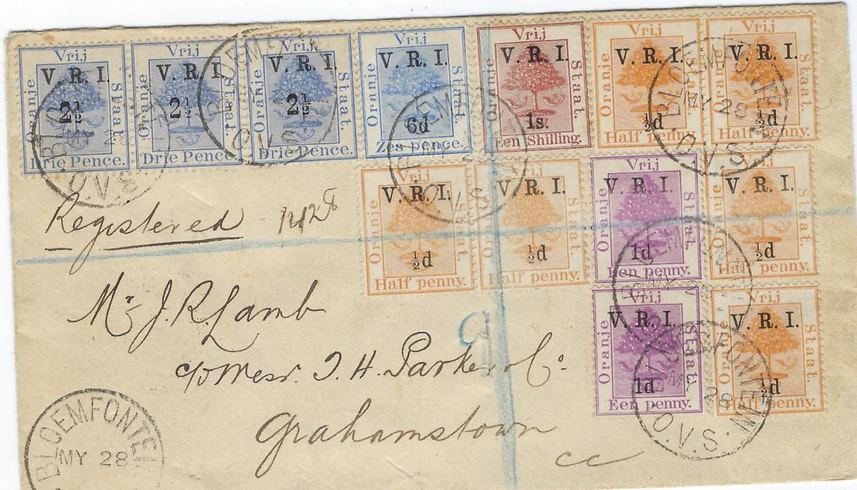 South Africa (Orange Free State) 1900 (MY 28) registered cover to Grahamstown franked British Occupation V.R.I. overprinted ½d. on ½d. (6), 1d. on 1d. (2) 2 ½d. on 3d., 6d. on 6d. blue and 1s on 1s tied Bloemfontein cds. Reverse with Midland Down and Midland T.P.O. Up cds and arrival cds; small piece bottom flap missing not detracting from generally good appearance.