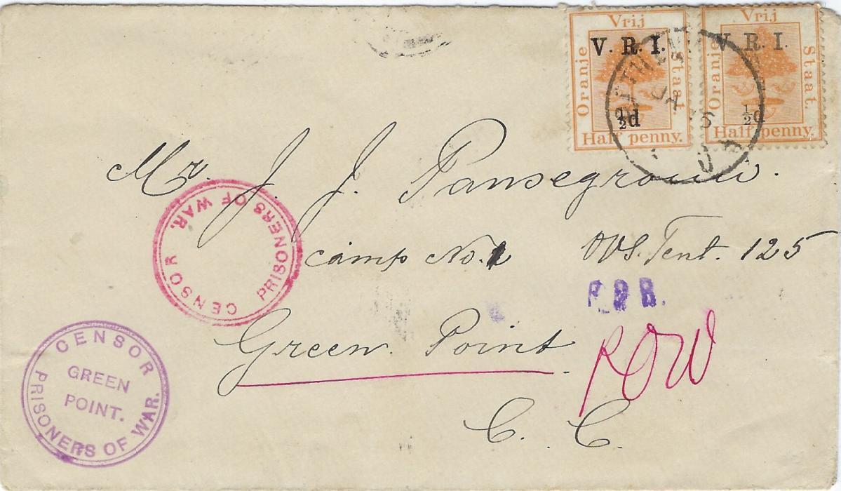 South Africa (Orange Free State) 1901 Prisoner of War cover to Green Point franked by two V.R.I. overprinted  ½d. on ½d., Censor Prisoners of War and Censor Prisoners of War/ Green Point cachets on front, Bloemfontein and arrival backstamps.