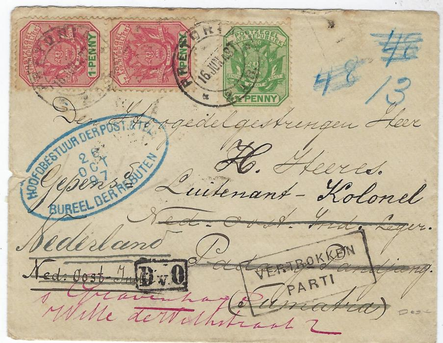 South Africa (Transvaal) 1897 (16 Jun) cover to Netherland Indies franked 1896-97 ½d. and vertical pair 1d. tied Pretoria cds which is repeated on reverse, Padang square circles of 8/8 and Weltevreden of 12/8, the cover being returned with framed VERTROKKEN/ PARTI handstamp and redirected to Netherlands with oval blue handstamp on front, reverse with Marseille transit and arrival cds of 26 Oct.