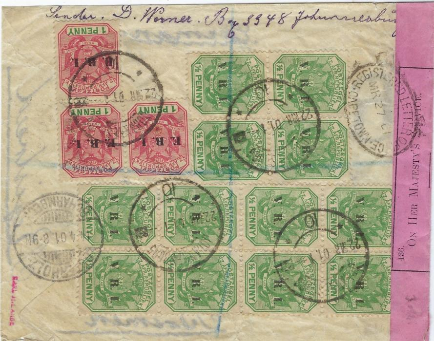 South Africa (Transvaal) 1901 registered censored cover  from Johannesburg to Bremen, franked on reverse with V.R.I. overprinted ½d. blocks of four and eight, E.R.I. overprinted 1d. block of three; good condition.