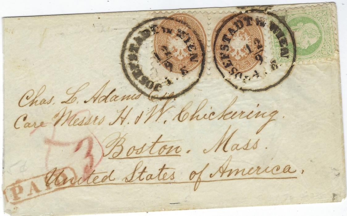 Austria (Transatlantic Mail) Undated cover to Boston bearing mixed franking 1863-64 perf 9½  15kr. Arms pair and #coarse whiskers' 3kr.  tied Josefstadt in Wien cds, reverse with part Bremen transit and on front framed PAID handstamp applied on arrival; envelope slightly reduced at left.