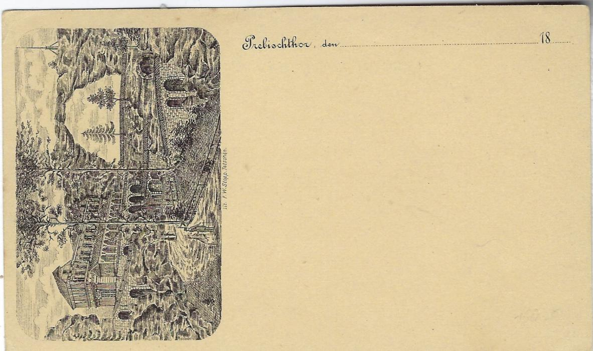 Austria (Picture Postal Stationery) 1880s 2 kr. double-headed Eagle card with small image of Trebisch Thor at left side. The image of the natural stone bridge is from an engraving by F.W. Stopp; small grease spot to right of stamp image.