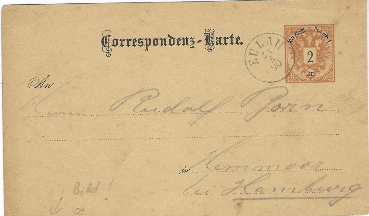 Austria (Picture Postal Stationery) 1890 2kr. double-headed Eagle stationery card with image 'Hoher Schneeberg (Bohmen)' image in green used to Hamburg with Eulau cds.