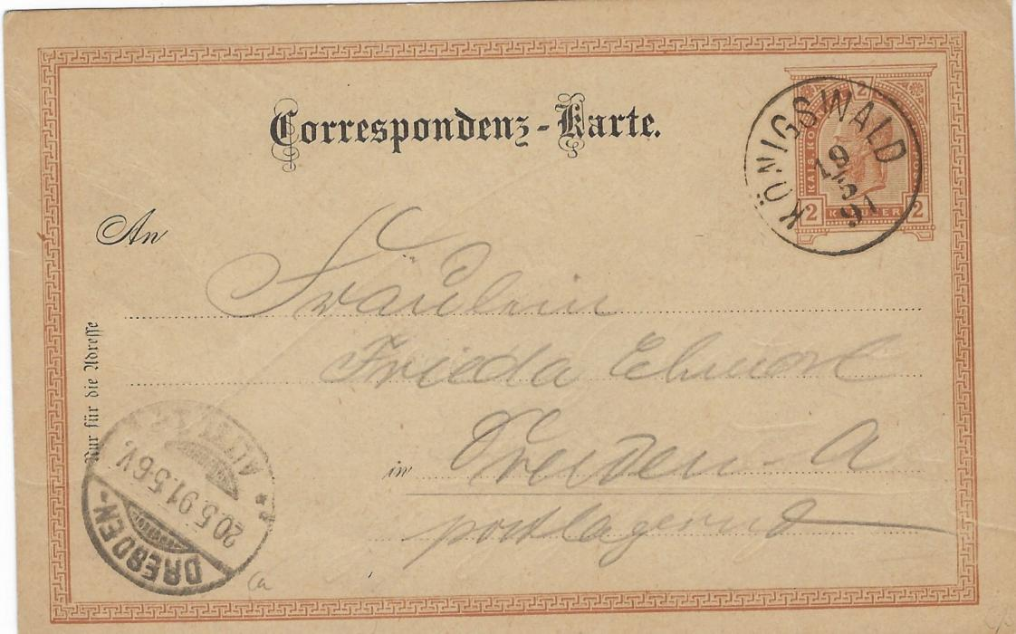 Austria (Picture Postal Stationery) 1891 2kr. Franz Joseph  stationery card with image 'Hoher Schneeberg (Bohmen)' in brown used to Desden with Konigswald  cds.