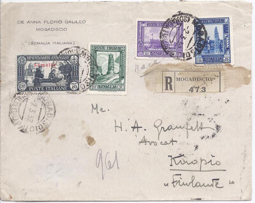 Italian Colonies Somalia 1932 registered cover to Kuopio, Finland, the franking including 75c. St Anthony, tied Mogadiscio cds, glue stained registration label at right. Reverse with Italian tpos and arrival cds.