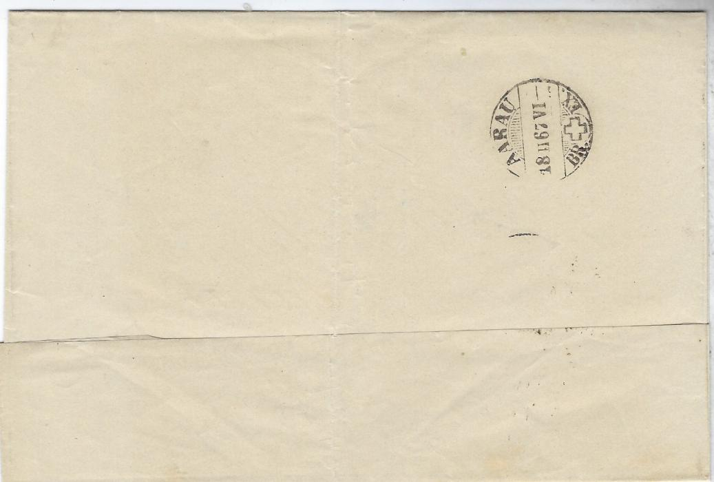 Austria  1867 (16/2) outer letter sheet to Aarau, Switzerland franked 1863-64 Perf 9½ 2kr. horizontal pair tied Wien cds, reverse with arrival cancel of 18th., vertical filing crease otherwise good condition.,