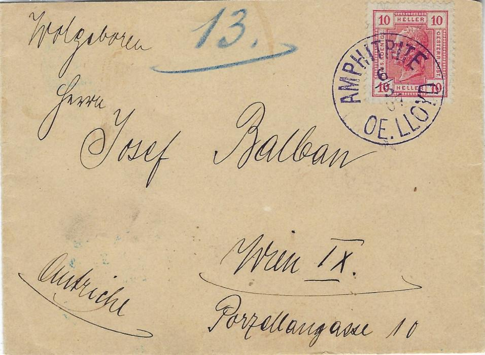 Austria (Maritime) 1907 'Austrian Lloyd' envelope to Wien franked 10h. tied violet Amphitrite de Lloyd cds, arrival backstamp; fine quality cancel.
