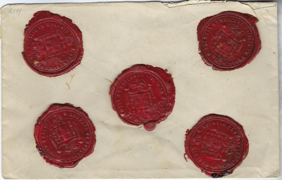 Austria (Maritime) Undated stampless insured envelope to Verona  cancelled Spalato cds (Croatia), straight-line FRANCA handstamp and two-line VAPORE/ DE SPALATO handstamp. Reverse with five, very fine large red wax seals of Italian Consulate at Spalato.