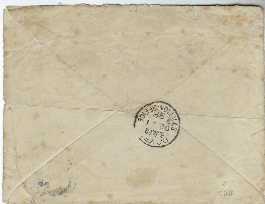 "Austria (Post Offices in Crete) 1898 (24 Nov) printed soldier's envelope 'From' ""Lca Sgt F. Pagett 5th Fusiliers Crete"", endorsed bottom left corner ""British Forces Crete"" , stamp cancelled Candia Oesterreichische Post cds, reverse with Dover Station Office cds; some slight faults to envelope, opened-out for display a rare and unusual item of mail from the International Peace-Keeping Force in Crete."