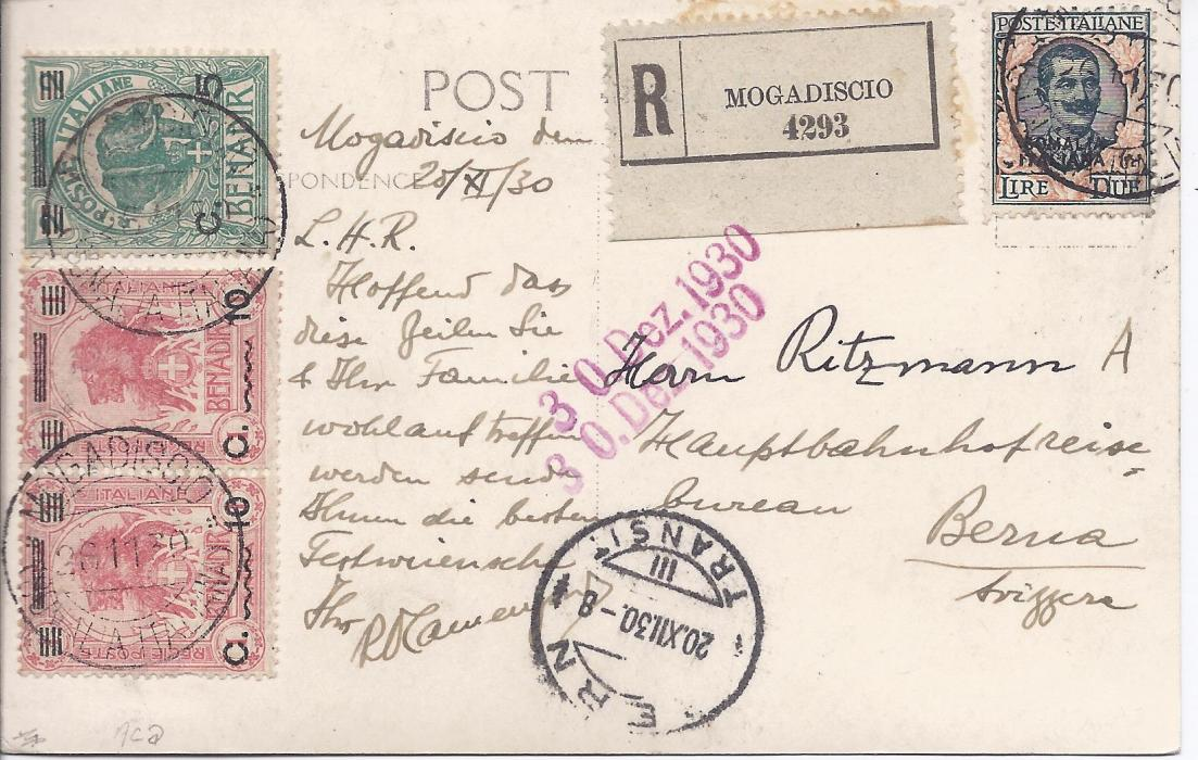 Italian Colonies Somalia 1930 registered picture postcard to Switzerland franked 5c. on 2b., pair 10c. on 1a. and a 2L. tied Mogadiscio cds, registration label at top, arrival cds at base. Fine condition.