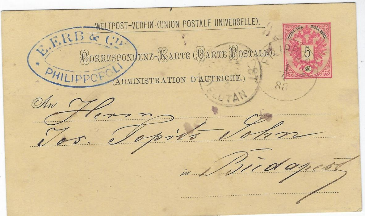 Austrian Levant (Bulgaria) 1888 5sld postal stationery card used to Budapest, cancelled by Filippopli cds, arrival cancel alongside and company chop at top left.
