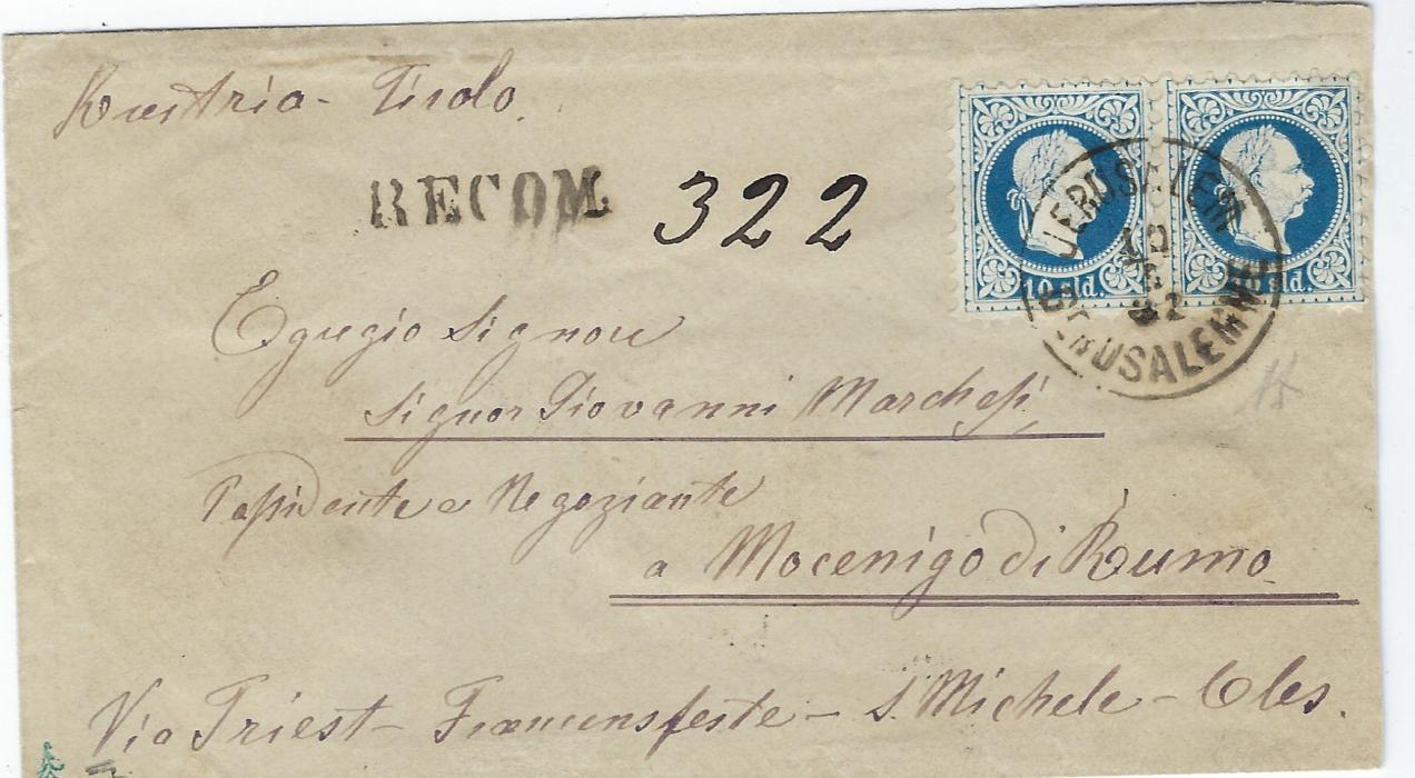 Austrian Levant (Palestine) 1882 registered cover to Mocenigo di Bumo, Italy franked fine printing 10sld. pair tied Jerusalem Gerusalemme cds, 'RECOM.' handstamp with m/s number to left, reverse with Triest and Cles transit cancels and five red wax seals with discernable Coat of Arms; a fine cover.