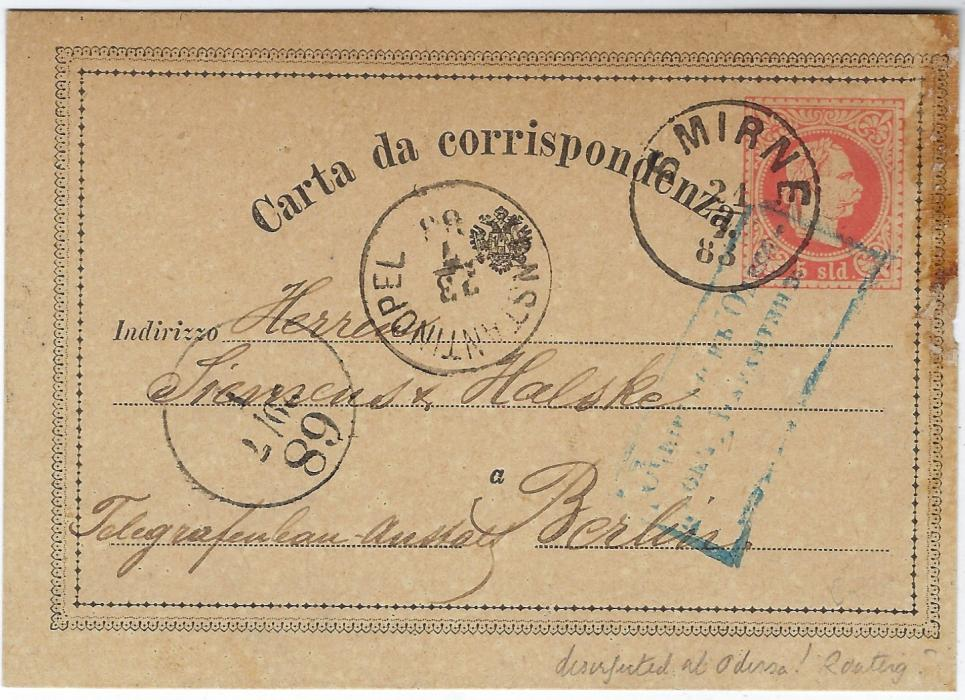 Austrian Levant (Disinfected Mail) 1883 (21/7) 5sld stationery card to Berlin bearing Smirne despatch, Constantinopel transit of 23rd and bearing fine blue boxed handstamp of Odessa disinfection station, arrival cancel of 29th, some staining top right. An unusual routing.