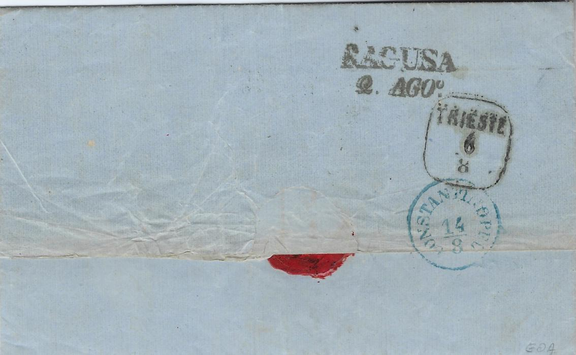 Montenegro 1883 entire from Pedasto to Constantinople bearing two-line Cattaro/ Col Vapori handstamp and accountancy '-.30/ 3.-' handstamp which is repeated in manuscript alongside, reverse with Ragusa and Trieste date stamps and arrival cds.