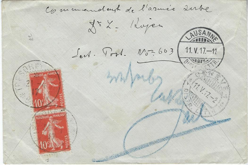France (Serbian Forces) 1917 registered cover to Geneva, Switzerland, redirected to Lausanne, franked by two 15c. 'Sameuse' on front with a further pair of 10c. on the reverse, tied by Tresor Et Postes *504* date stamp, censor handstamps in French and cyrillic; fine condition.