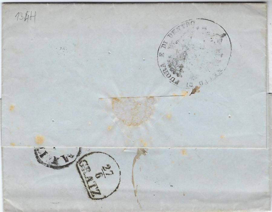 Austria (Disinfected Mail) 1860 entire to Gratz bearing two-line BELGRAD despatch routed via Semlin where disinfected with nine rastel punch holes and oval framed cachet inscribed 'Netto di Fuora e di Dentro', Meyer type H, recorded 1857-60.