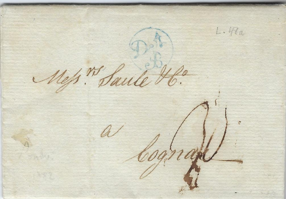 Belgium 1782 London to Cognac entire concerning deliveries of Brandy to Dunkirk and Ostend, bearing a fine example in blue of 'D'A/ B' (D'Angleterre par Bruxelles) handstamp.