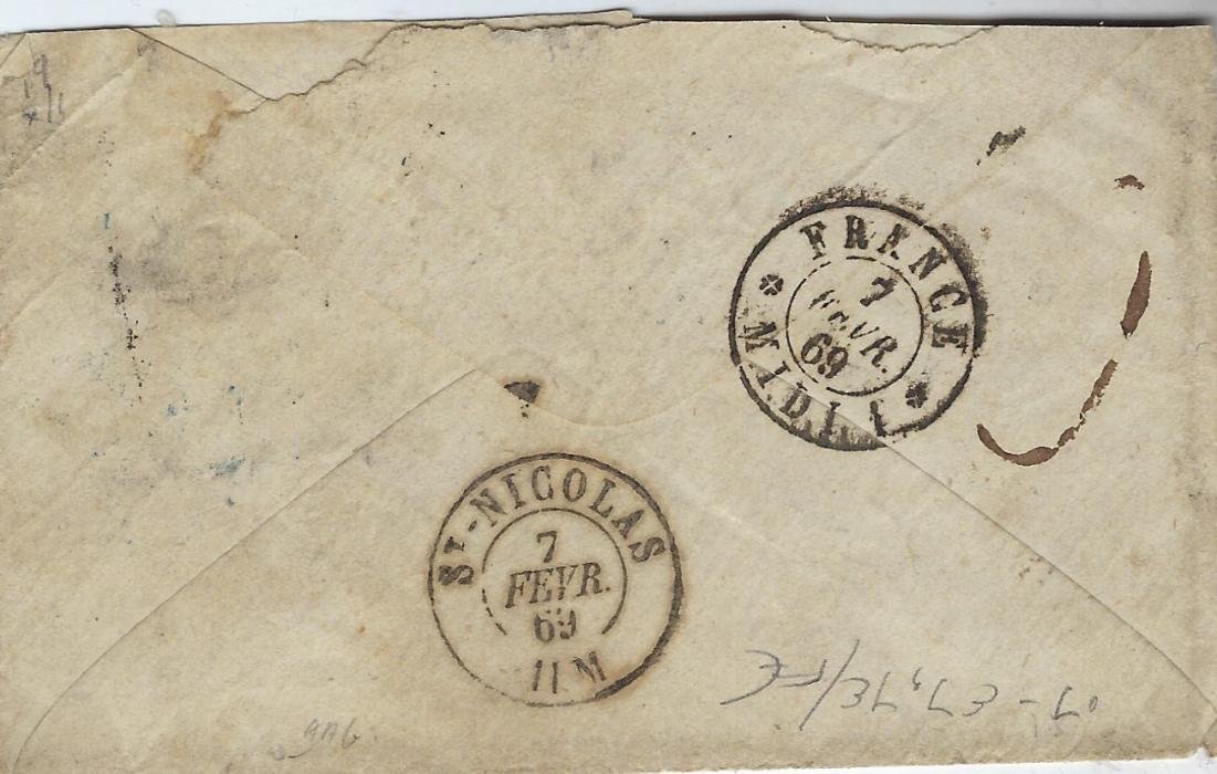 Italy (Accountancy) 1869 cover from Roma to St Nicolas, Belgium bearing manuscript charge at centre together with despatch cds, to right blue 4 E. PONT. 4/St Michel applied in transit at Paris together with scarce accountancy handstamp �F/25�, reverse with France Midi Belgian entry tpo and arrival cds; some slight ageing.