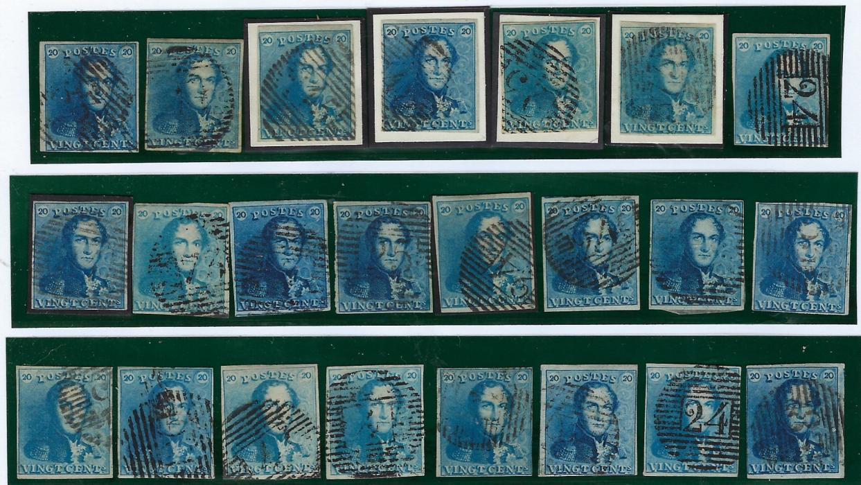 Belgium 1849 King Leopold I 20c blue, 23 used examples, all with good to close margins and one three-margined example on cover from Anvers. Nice group.