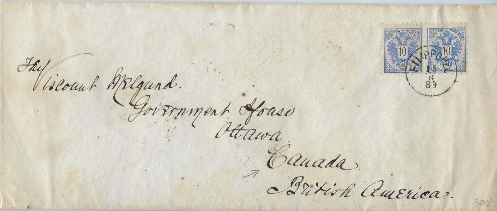 Austrian Levant (Bulgaria) 1884 (15.8.) cover to Government House, Ottawa, Canada franked pair 10sld., perf 9½ tied Filippopel cds, reverse with Constantinopel and London transits plus arrival cds.