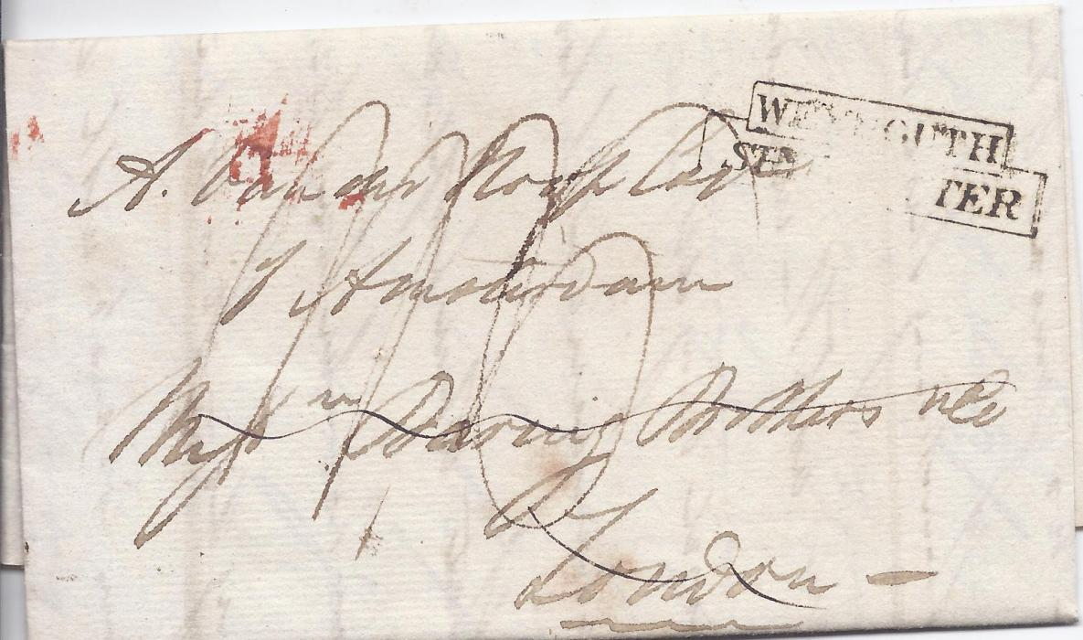 Cape of Good Hope 1826 entire addressed to Amsterdam bearing manuscript rate markings and stepped Weymouth Ship Letter handstamp, forwarded through London by