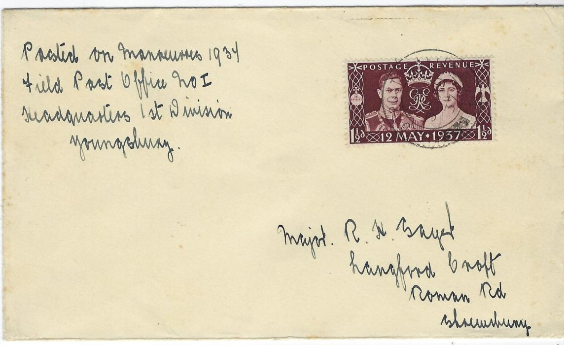 "China (British Military Offices) 1937 (30 Aug) cover to England franked Great Britain 1½d. cancelled by Field Post Office No.1 cds, then based at Tientsin. The envelope is endorsed at top left ""Posted on mannouvers1937/ Field Post Office No 1/ Headquarters 1st Division/ Youngshung"" (Yangtsun). Fine condition and unusual usage of tne Coronation stamp."