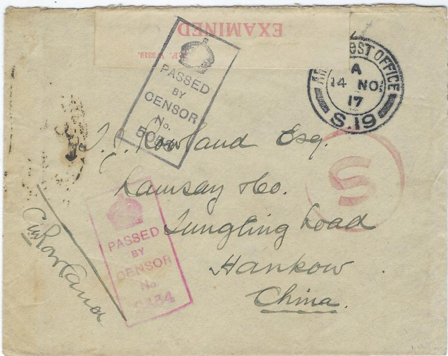 China (Incoming WW1 censored mail) 1918 stampless envelope from Lumbres, France addressed to Hankau cancelled Army Post Office S.19 double-ring cds of 14 Nov, censor tape and two different handstamps applied together with circular framed 'S' (special treatment as overseas mail) and on reverse very fine strike of British Post Office Hankow cds of DE 29. A fine cover coming from the Western Front.