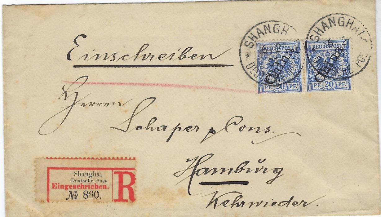 China (German Post Offices) 1901 (6/2) registered cover to Hamburg franked pair 56 degree overprint 20pf. pair tied by two Shanghai Deutsche Post b date stamps; slight staining around registration label otherwise sound commercial cover.