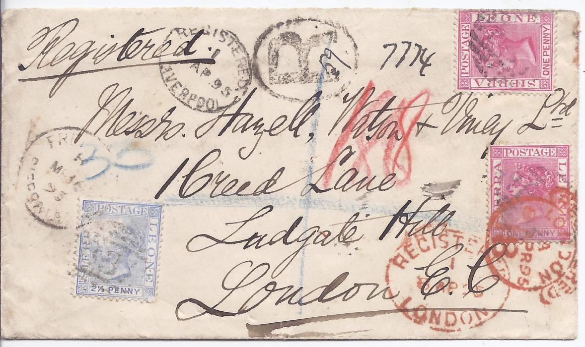 Sierra Leone 1895 registered cover to London franked 1d.(2) and 2 1/2d.tied numeral obliterators, R handstamp, Freetown cds, Registered Liverpool and London cancels all on front,nothing on reverse. The 2 1/2d. stamp has some surface damage that occurred before application to envelope.