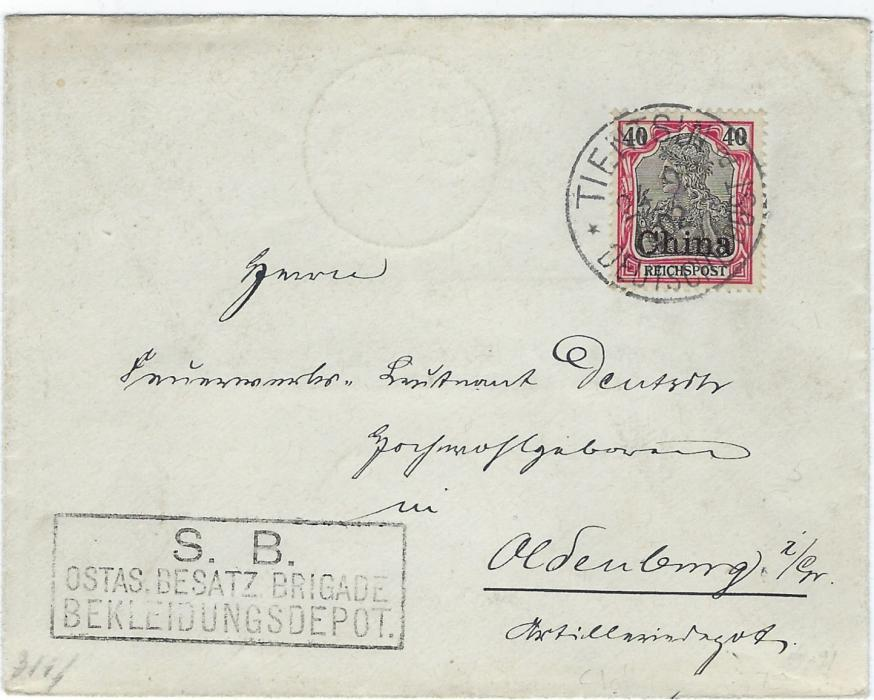 China (German Post Offices) 1902 cover to Oldenburg franked Reichpost 40pf tied Tientsin Deutsche Post cds, arrival backstamp. No sign of registration that the rate would indicate. Very fine cachet bottom left of the Clothing Depot, an unusual handstamp.