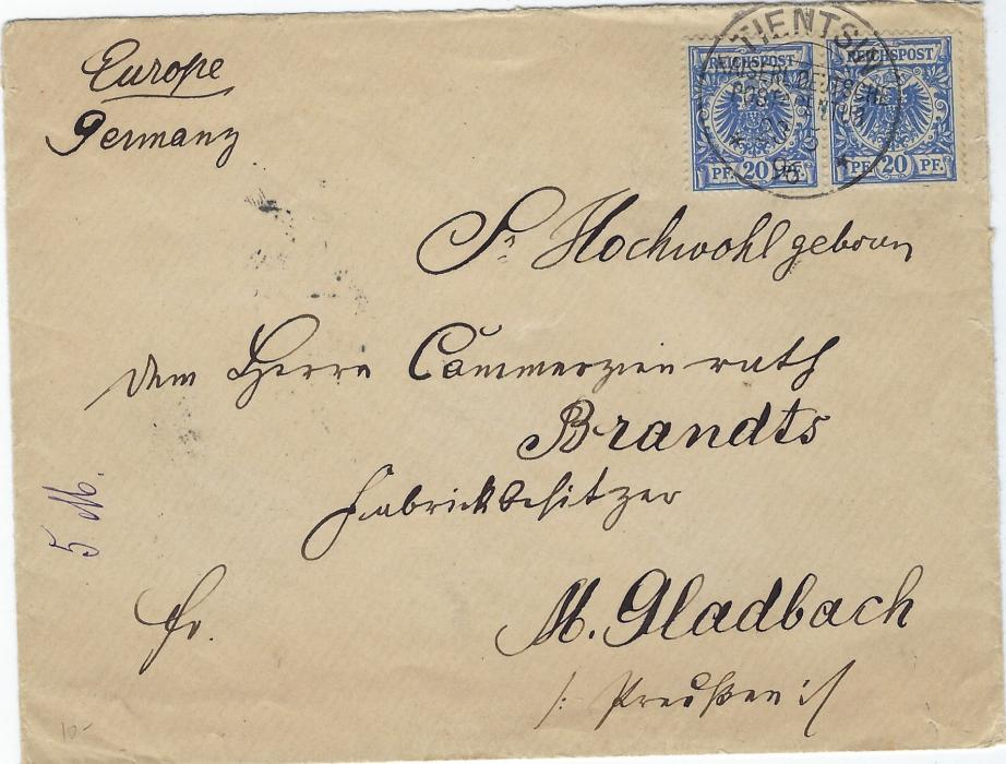 China (German Post Offices) 1896 (23/5)cover to M.Gladbach bearing  unoverprinted forerunner pair 20pf. tied single Tientsin Kdpa cds, reverse with Hong Kong transit and arrival cds.
