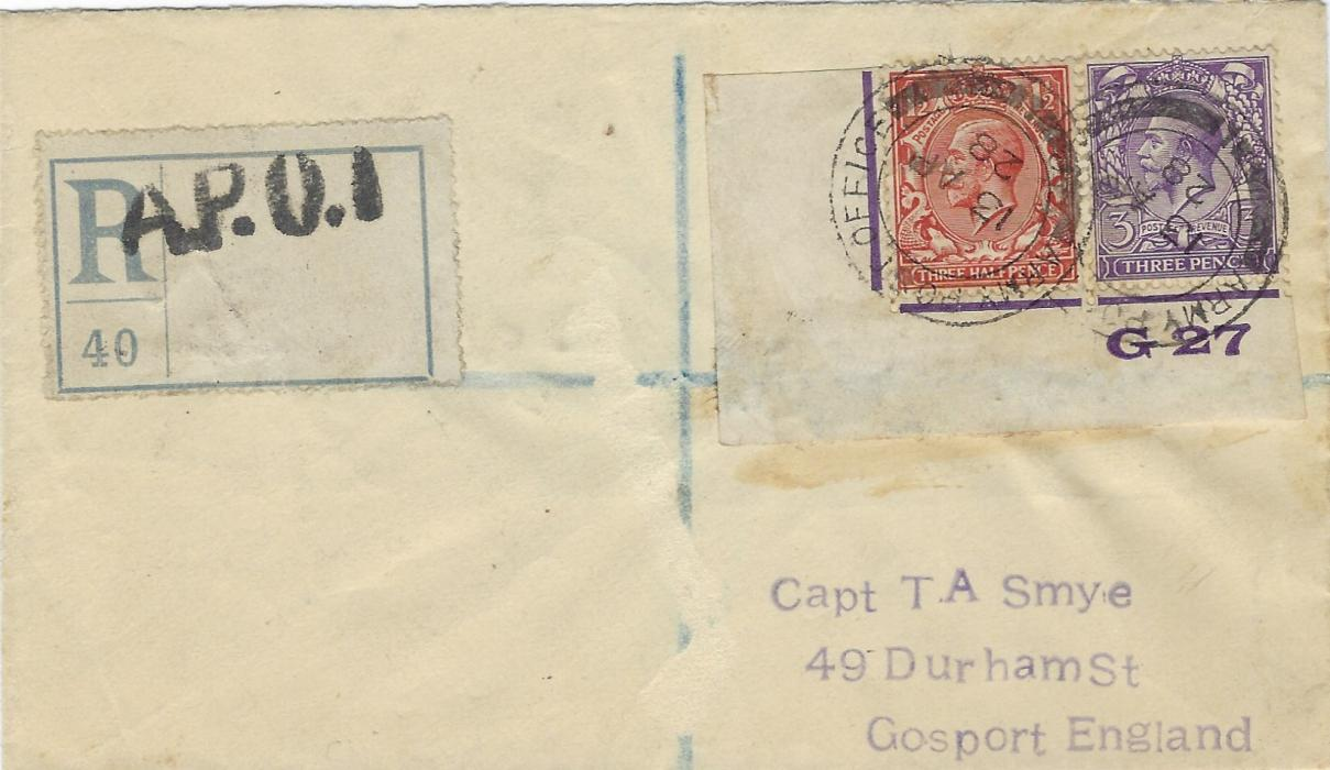 China (British  Post Offices) 1928 (13 AP) registered cover to England franked Great Britain 1½d. and 3d. tied Army Post Office 1 cds, fine handstamped registration label at left, reverse with further despatch, Liverpool and Gosport registered cancels; fine registered item.