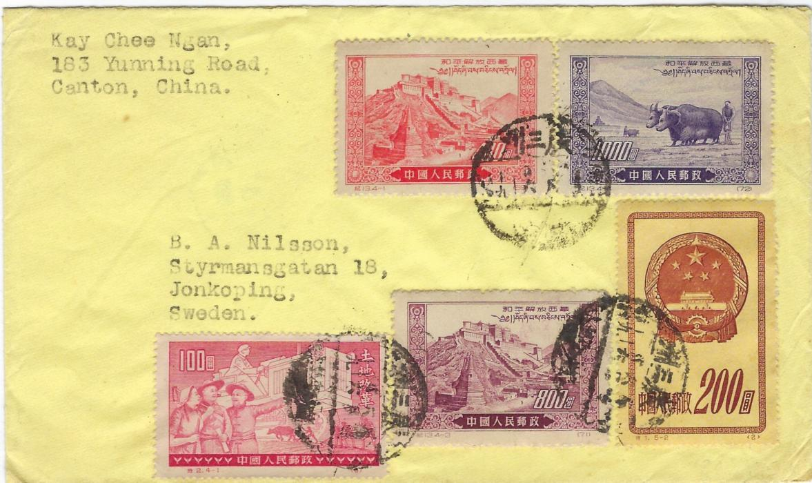 China (People�s Republic) 1952 cover to Jonkoping, Sweden bearing a mixed issues franking tied native date stamps, bilingual Canton transit in reverse.