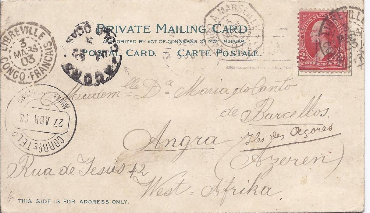 United States 1903 picture postcard of Milwaukee, sent from there to Angra, Azores with faint despatch, also showing Libreville Congo Francaise transits, French maritime Loango A Marseille L.M. No.2 date stamp and unclearly dated Accra Gold Coast cds, plus arrival cds. An unusual routing.