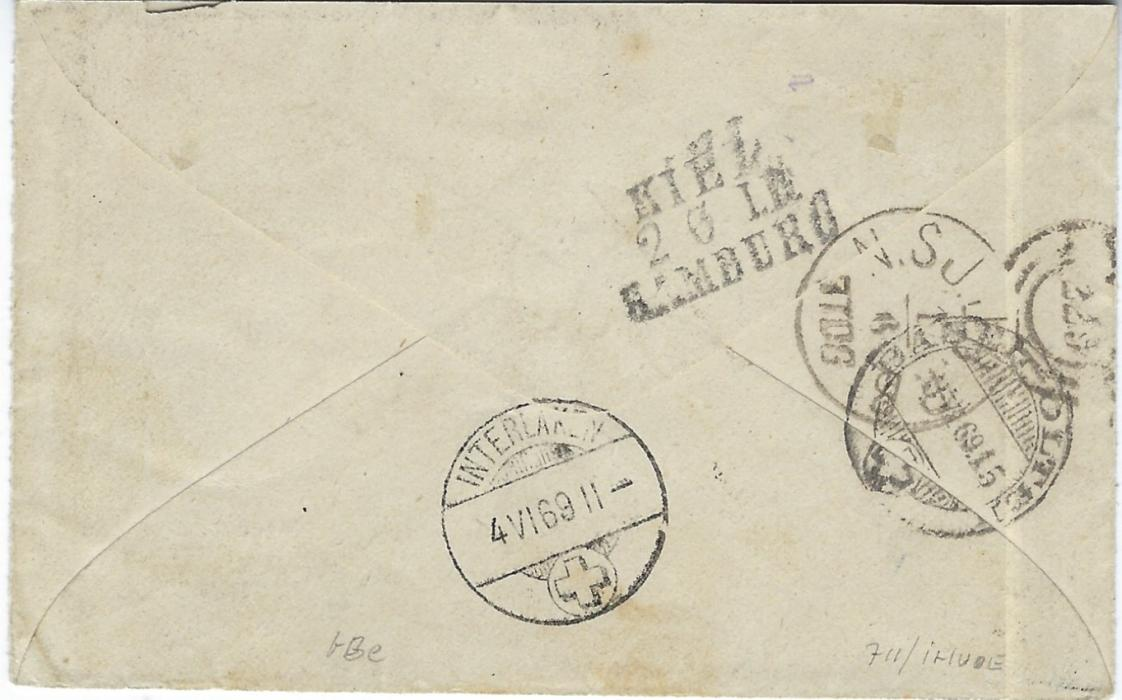 """Denmark 1869 cover to Poste Restante, Interlaken, Switzerland franked Arms perf 13 x 12½ 2s. (4th printing), 3s. (2nd printing) and 8s. (1st printing) at correct 13s. rate tied by '25' three-ring numerals with Horsholm cds in association at base, manuscript """"2"""" crossed out in blue crayon and """"1 wf"""" added, reverse with N.SJ.JB.P.B. datestamp, three-line Kiel/ Hamburg tpo and arrival cancels. A very fine example.Moller Certificate."""