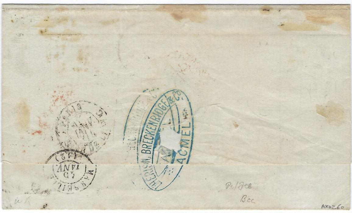 Danish West Indies 1873 outer letter sheet to Marseille datelined 26th October from Jacmel, Haiti bearing company chops front and back and carried privately to St Thomas where franked Great Britain 1873-80 3d rose, plate 11, SD and 1865-73 4d. plate 13, LL tied 'C51 St Thomas Paid' duplex, red oval-framed PD and London tranit, French entry cds additionally tying 3d., reverse with Paris transit and arrival; a couple of light stains not unduly detracting from fine appearance.