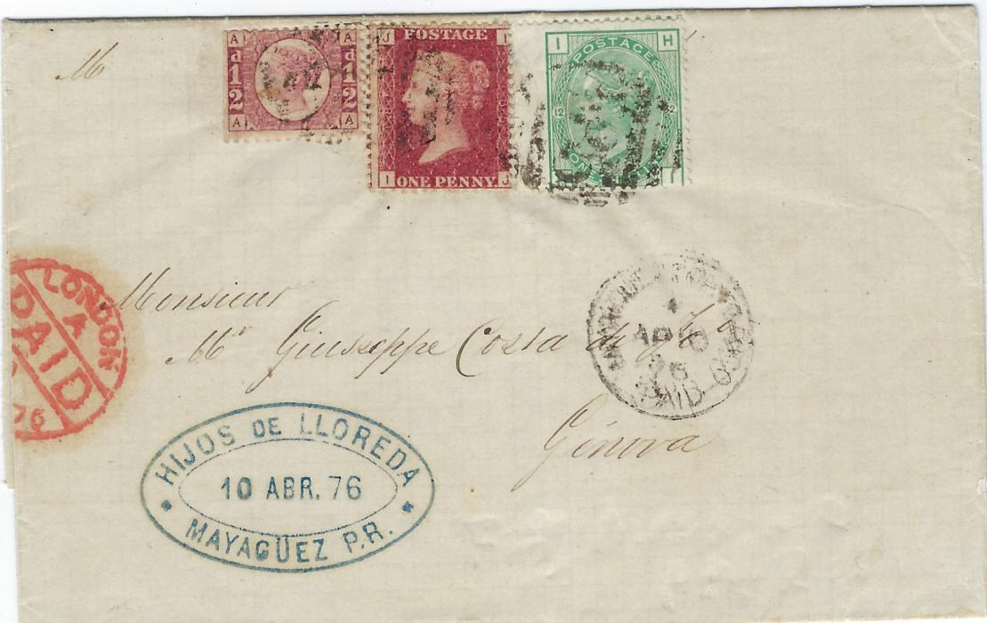 Great Britain (Used Abroad – Porto Rico)  1876 entire from Mayaguez to Genova franked Great Britain adhesives tied 'F85' obliterator with somewhat unclear Mayaguez Porto Rico Paid cds, red London transit at left and arrival backstamp; fine, fresh condition.