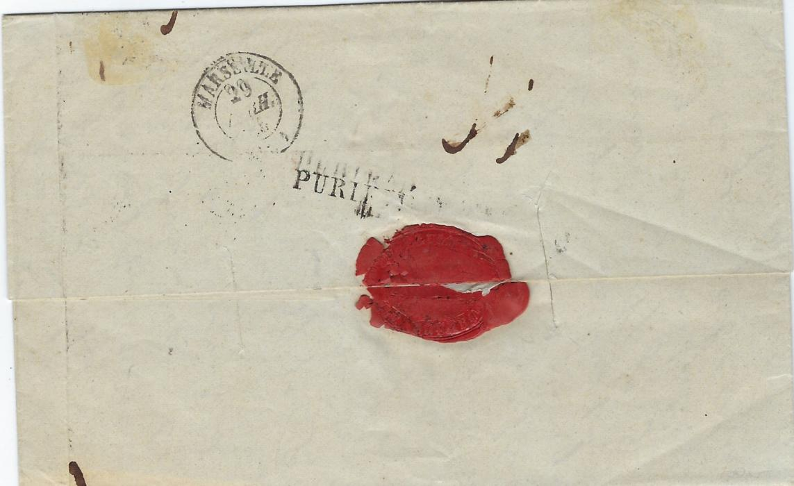 Egypt (Disinfected Mail) 1845 entire from Alexandria to Marseille bearing despatch date stamp of French Post Office, framed red maritime hanstamp, two disinfection slits with straight-line PURIFIE LAZARET MARSEILLE, arrival cds alongside; good clean condition.