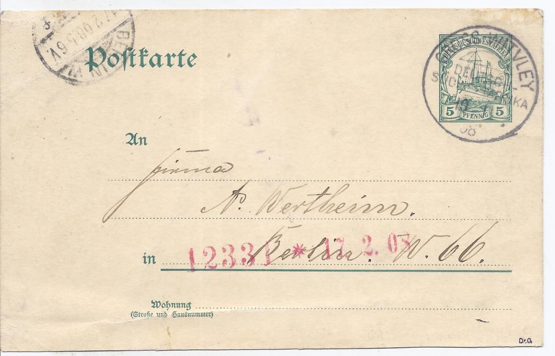 German South West Africa 1908 5pf. postal stationery card to Berlin cancelled by good strike of rare Gross Witvley cds, arrival cancel at left. Crease at bottom of card not unduly detracting.