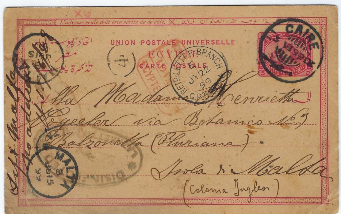 "Malta (Disinfected Mail) 1899 (3 VI) 4m. on 5m. incoming Egyptian postal stationery card from Cairo, arriving on JU 15, the card bearing large oval 'Disinfected Lazarretto Malta', at left manuscript ""Left Malta/ no address/ ..."", Retd. Letter Branch G.P.O. Malta cds of JY 22 overstruck with red framed Egyptian date stamp of  10.VIII.; fine and unusual."
