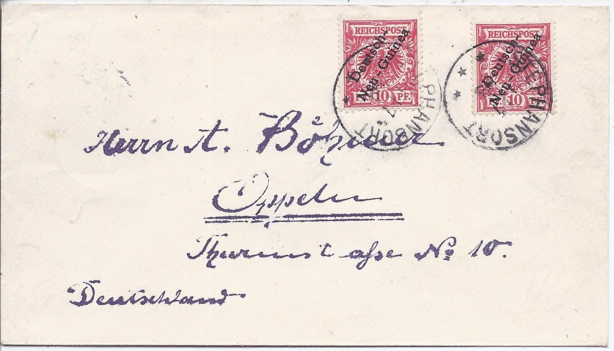 German New Guinea 1901 (25/6) registered cover to Wiesbaden franked overprinted 5pf. and 25pf. each tied Matupi cds with another strike to left, registration label, arrival backstamp; fine and clean condition.
