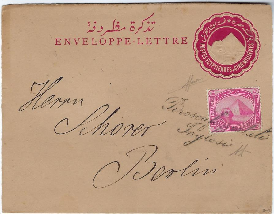 Egypt (Maritime Mail) 1891 5m Sphinx stationery letter card uprated 5m. to Berlin only cancelled by fine strike of the rare two-line handstamp Piroscafi postali/ Inglesi which was applied at Venice or Brindisi to letters posted on a British ship. There are no further cancels front or back, with both Sorani and A Dienna initials.