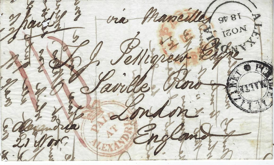 "Egypt (British Post Office) 1846 (NO 21) thin paper, disinfected cover to London, endorsed ""Via Marseilles"", bearing fine strike of the rare red crown circle PAID/ AT/ ALEXANDRIA, reddish crayon ""1/8(d)"" at left, black Alexandria double arc, two diagonal disinfection slits and Maltese Lazaret handstamp, London arrival at top, without any backstamps; fine and clean condition."