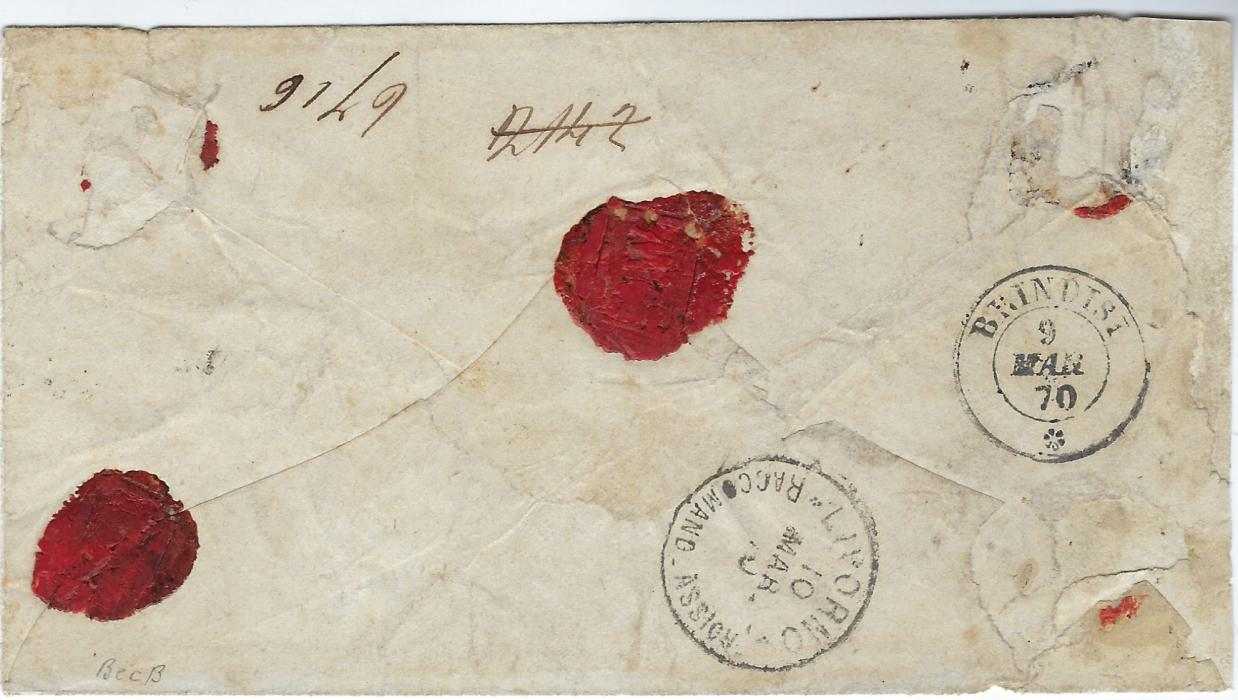 Egypt (ITalian Post Office) 1870 (3 Mar) registered cover to Livorno franked two Italy 1866 40c. (Sassone T20) cancelled by fine 234 numeral lozenges with very fine strike of the rare keyhole Alessandria DEgitto Poste Itale/ Consegne date stamp, reverse with Brindisi transit and arrival cds; a few insignificant flaws to envelope, stamps and cancel very fine and rare.