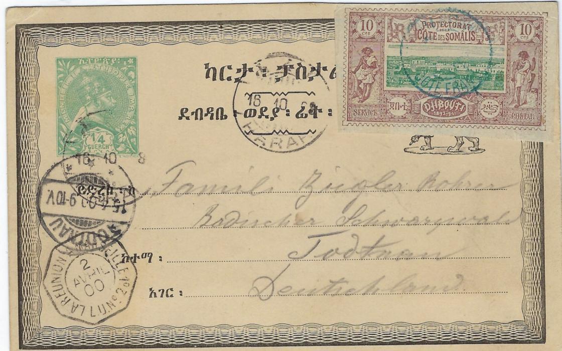 Ethiopia 1900 ¼g. Green stationery card to Todtnau, Germany with Harar cancels, additionally franked French Soamali Coast 10c. with blue cds, octagonal La Reunion A Marseille L.U. No.2.
