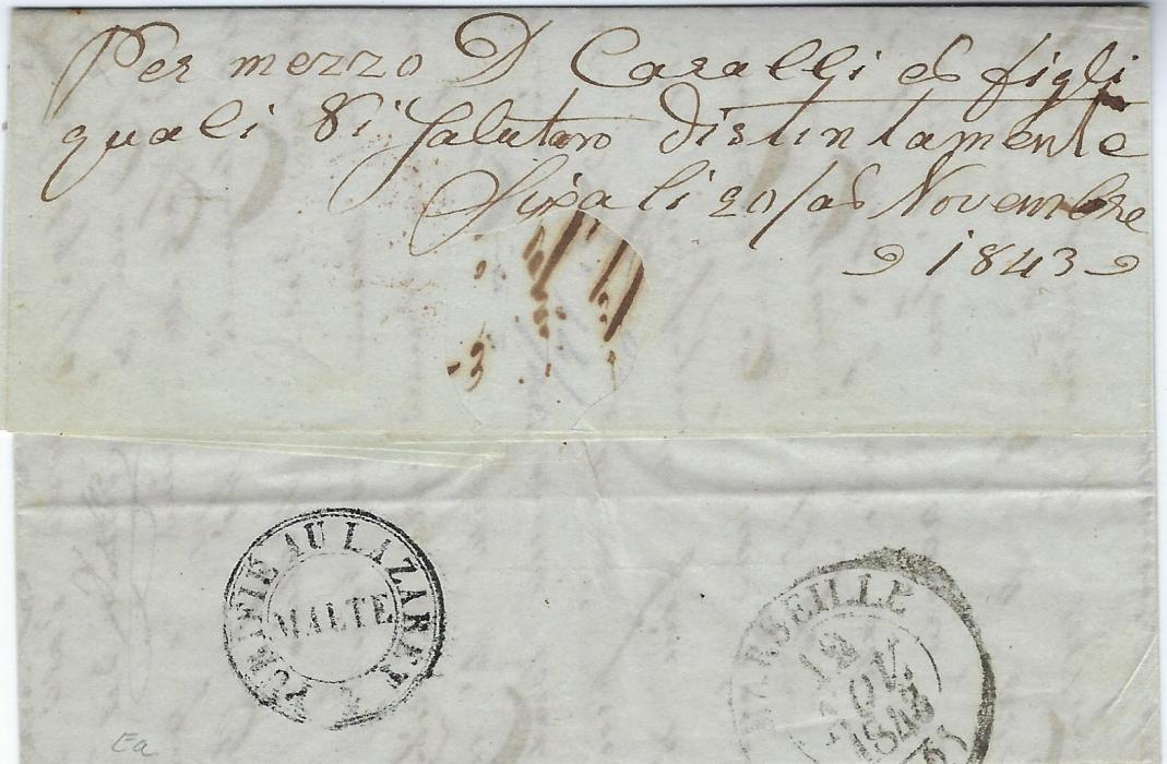 Greece (Disinfected Mail) 1843 entire from Cania to France, forwarded by Cavalli & Sons of Syra, with horizontal slits and good PURIFIE AU LAZARET/ MALTE handstamp on reverse, Marseille arrival backstamp