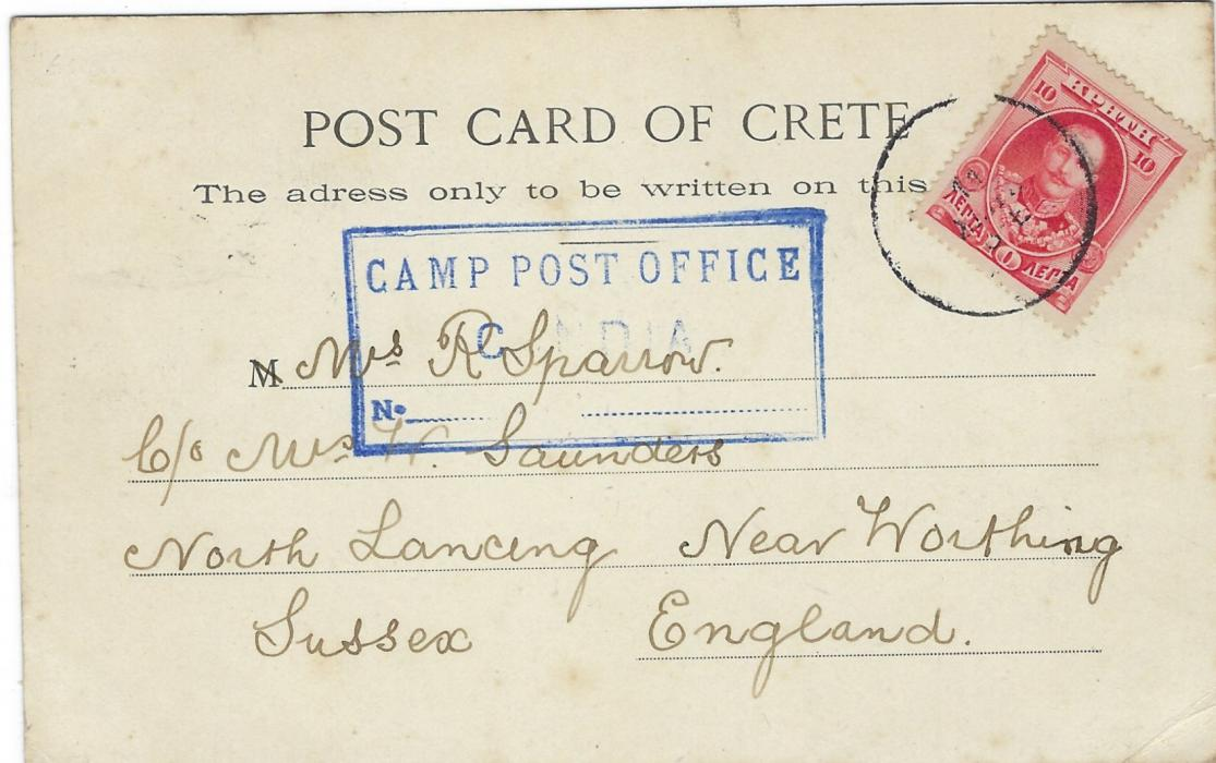Greece (Crete) 1906 picture postcard English Camp KANDIA to England franked 10 lepta tied unclear cds with, at centre, fine blue framed CAMP POST OFFICE/ CANDIA handstamp