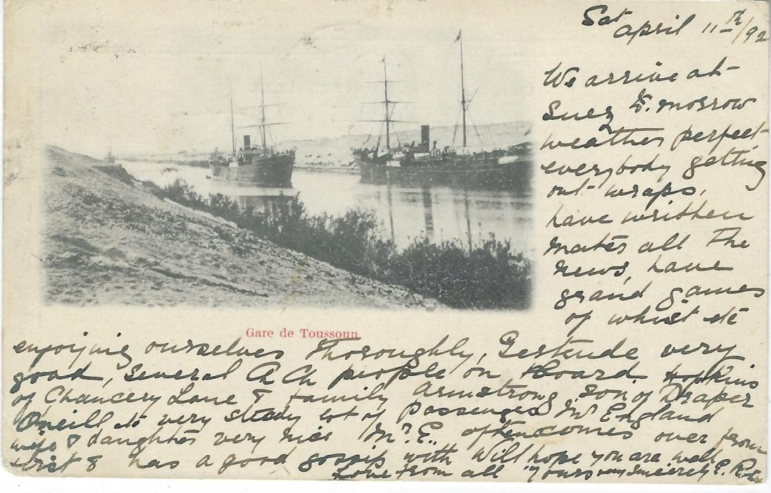 Egypt 1902 picture postcard 'Gare de Toussoun' to  New Zealand written on board steamer in the Suez Canal frankd Great Britain ½d. green Jubilee tied by framed 'MISDIRECTED' handstamp, Suez cds alongside (14 IV) and to left of this Christchurch arrival cds of 20 MY. Fine and unusual.