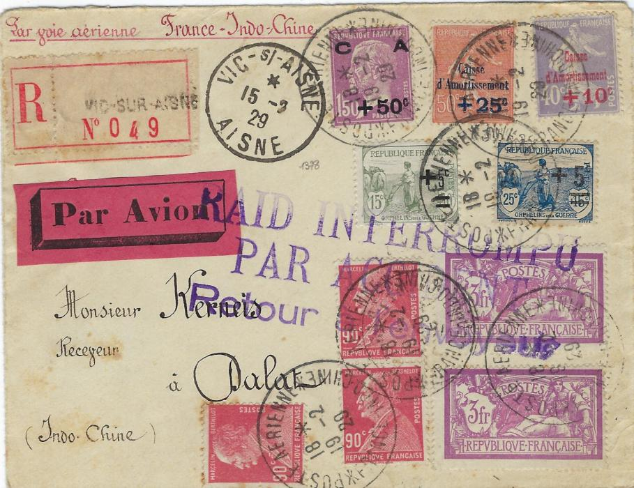 Indo-China 1929 registered airmail cover from France with adhesives cancelled by Poste Aerienne France – Indo-Chine date stamps, at centre three-line violet RAID INTERROMPU/ PAR ACCIDENT/ Retour a l'envoyeur; fine condition.