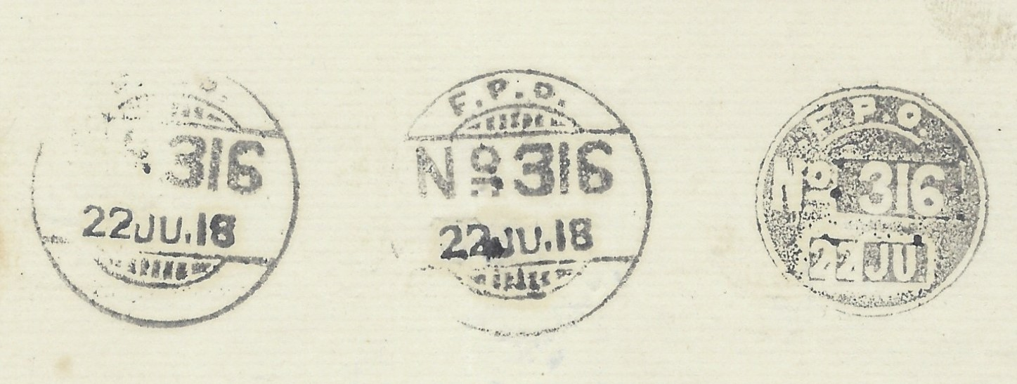 Iraq 1918 accumulation of current cancels on two pieces,  with reference to F.P.O. No. 316, a framed JN. and  I.E. Force D. Good condition. A collector had probably written to the FPO 316 post office requesting some sample cancels.